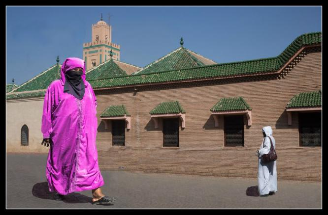 Woman in Pink at Ben Youssef Mosque - Phil Brew